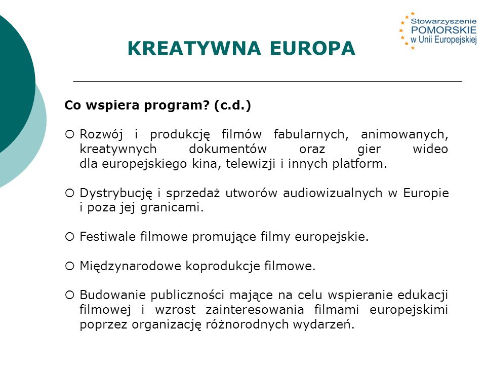 KREATYWNA EUROPA Co wspiera program.