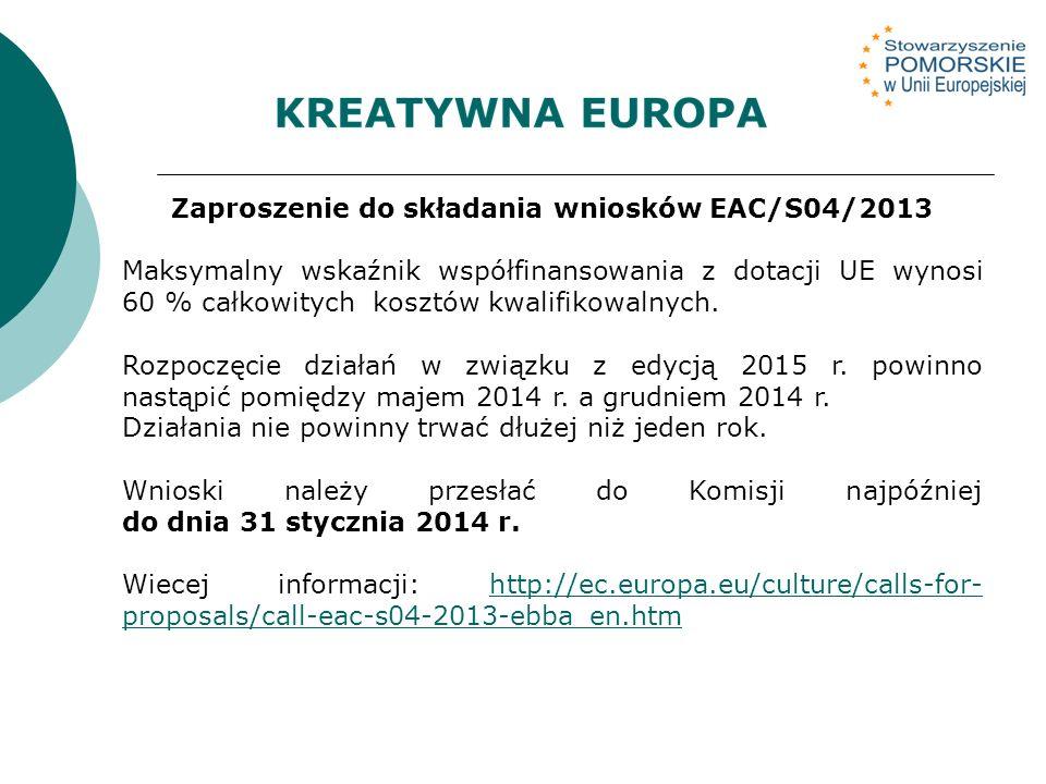 Zaproszenie do składania wniosków EAC/S04/2013 Maksymalny wskaźnik współfinansowania z dotacji UE wynosi 60 % całkowitych kosztów kwalifikowalnych.
