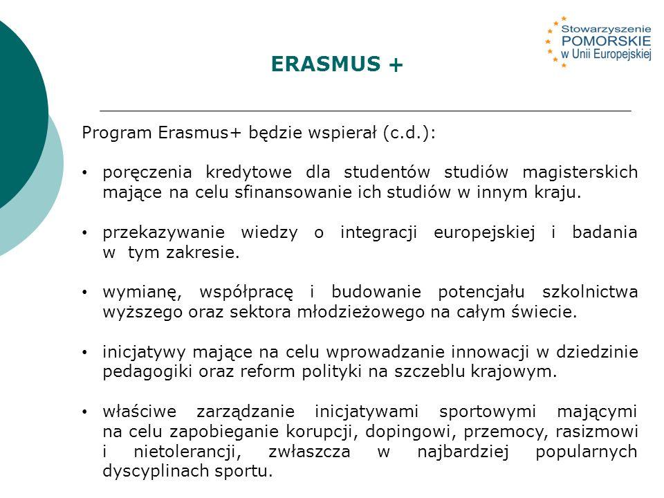 Program Erasmus+ będzie wspierał (c.d.): poręczenia kredytowe dla studentów studiów magisterskich mające na celu sfinansowanie ich studiów w innym kraju.
