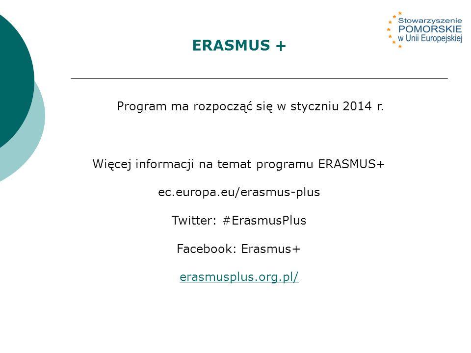 Więcej informacji na temat programu ERASMUS+ ec.europa.eu/erasmus-plus Twitter: #ErasmusPlus Facebook: Erasmus+ erasmusplus.org.pl/ ERASMUS + Program ma rozpocząć się w styczniu 2014 r.