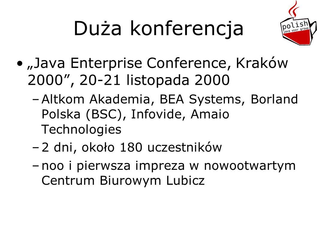 Duża konferencja Java Enterprise Conference, Kraków 2000, 20-21 listopada 2000 –Altkom Akademia, BEA Systems, Borland Polska (BSC), Infovide, Amaio Technologies –2 dni, około 180 uczestników –noo i pierwsza impreza w nowootwartym Centrum Biurowym Lubicz
