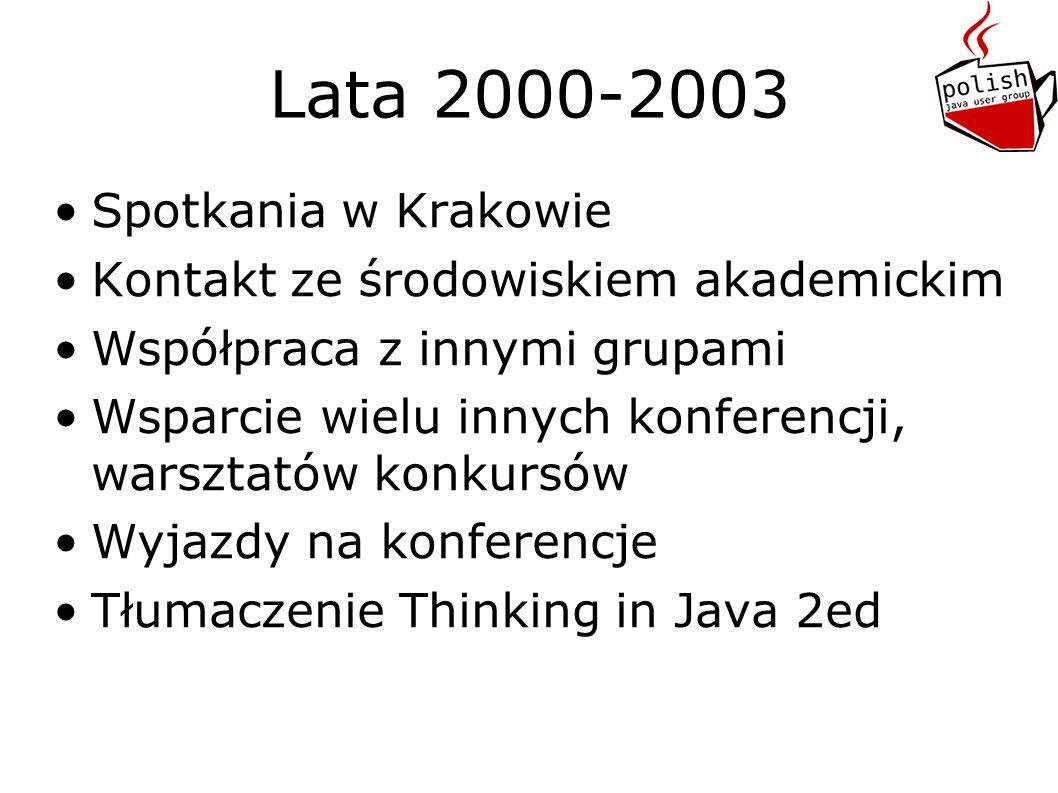 Lata 2000-2003 Spotkania w Krakowie Kontakt ze środowiskiem akademickim Współpraca z innymi grupami Wsparcie wielu innych konferencji, warsztatów konkursów Wyjazdy na konferencje Tłumaczenie Thinking in Java 2ed