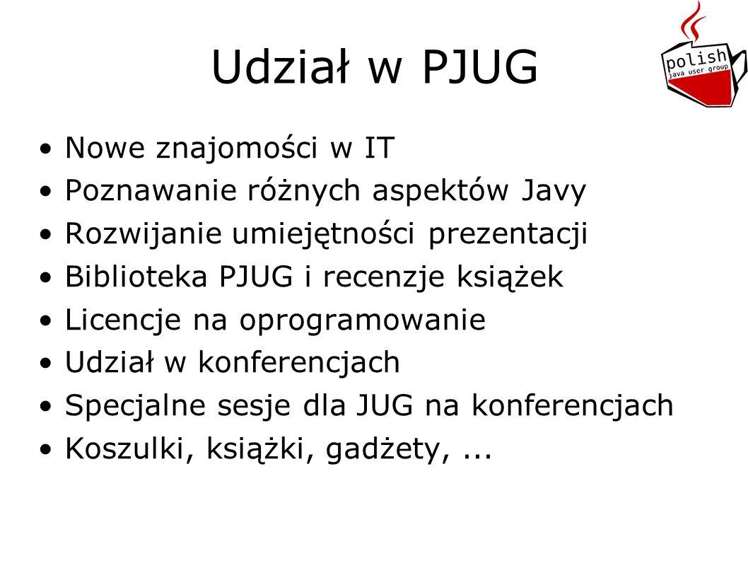 Dalsze plany Kolejne spotkania z gośćmi oraz wewnątrz PJUG Konkursy programistyczne i nie tylko Wsparcie inicjatyw Javowych Nagrania wideo/live streaming.