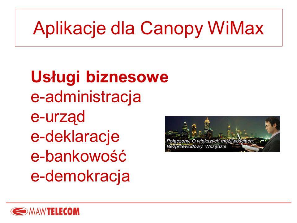 Aplikacje dla Canopy WiMax Usługi biznesowe e-administracja e-urząd e-deklaracje e-bankowość e-demokracja