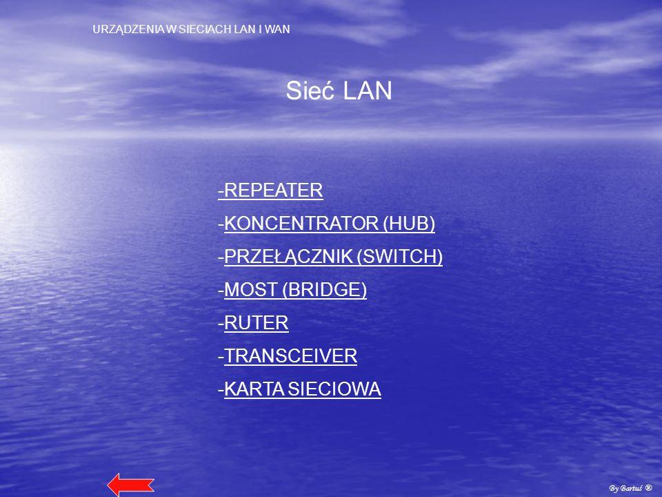 URZĄDZENIA W SIECIACH LAN I WAN By Bartuś ® Sieć LAN -REPEATER -KONCENTRATOR (HUB)KONCENTRATOR (HUB) -PRZEŁĄCZNIK (SWITCH)PRZEŁĄCZNIK (SWITCH) -MOST (