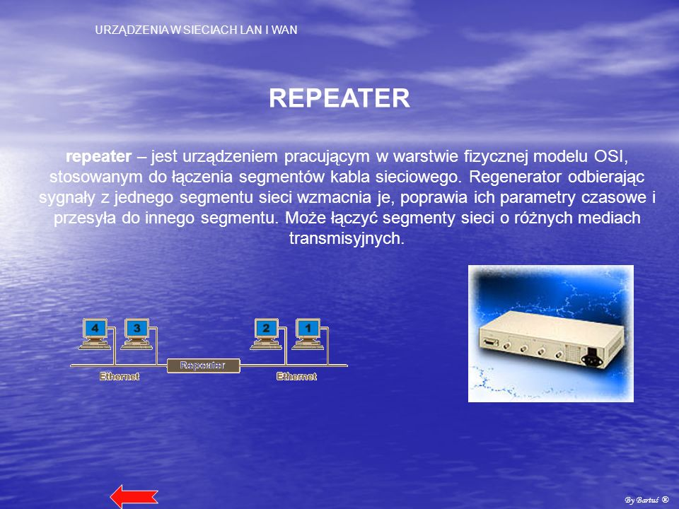 URZĄDZENIA W SIECIACH LAN I WAN By Bartuś ® KONCENTRATOR (HUB) koncentrator (hub) – jest czasami określany jako wieloportowy regenerator.