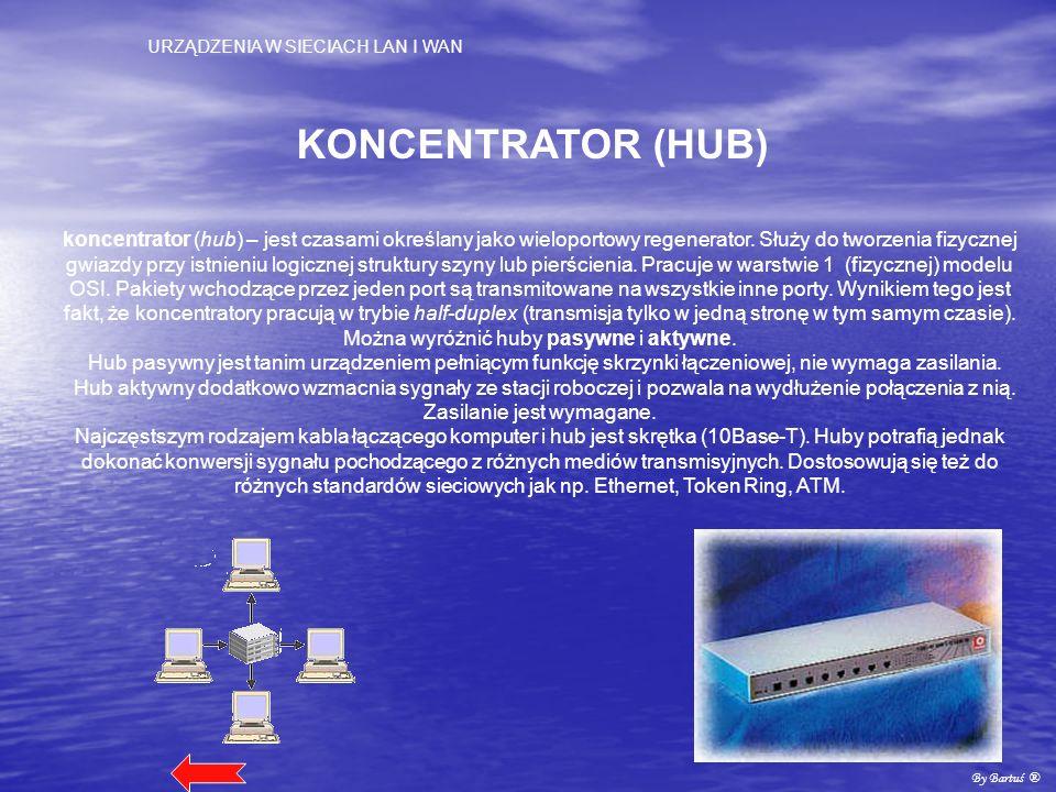 URZĄDZENIA W SIECIACH LAN I WAN By Bartuś ® KONCENTRATOR (HUB) koncentrator (hub) – jest czasami określany jako wieloportowy regenerator. Służy do two