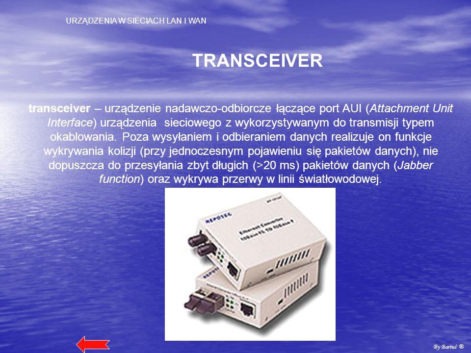 URZĄDZENIA W SIECIACH LAN I WAN By Bartuś ® TRANSCEIVER transceiver – urządzenie nadawczo-odbiorcze łączące port AUI (Attachment Unit Interface) urząd