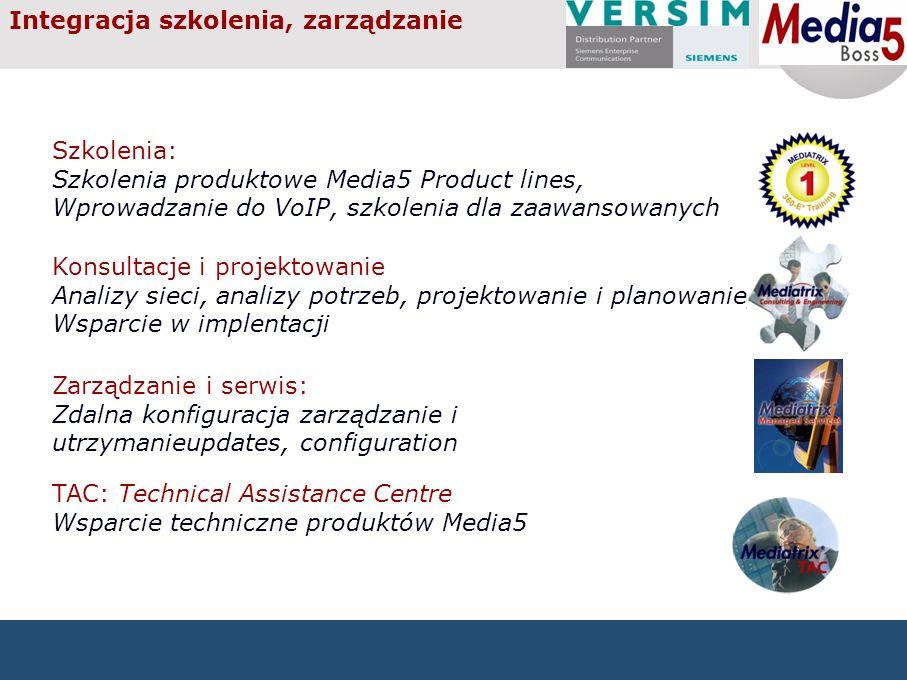 Integracja szkolenia, zarządzanie Szkolenia: Szkolenia produktowe Media5 Product lines, Wprowadzanie do VoIP, szkolenia dla zaawansowanych Konsultacje i projektowanie Analizy sieci, analizy potrzeb, projektowanie i planowanie, Wsparcie w implentacji TAC: Technical Assistance Centre Wsparcie techniczne produktów Media5 Zarządzanie i serwis: Zdalna konfiguracja zarządzanie i utrzymanieupdates, configuration