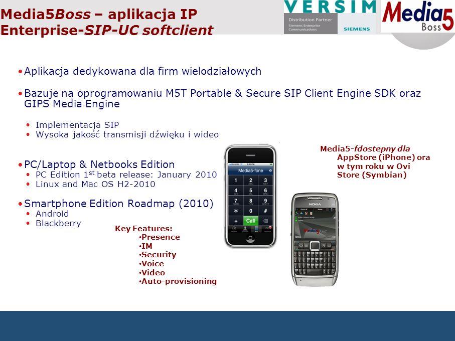 Media5Boss – aplikacja IP Enterprise-SIP-UC softclient Aplikacja dedykowana dla firm wielodziałowych Bazuje na oprogramowaniu M5T Portable & Secure SIP Client Engine SDK oraz GIPS Media Engine Implementacja SIP Wysoka jakość transmisji dźwięku i wideo PC/Laptop & Netbooks Edition PC Edition 1 st beta release: January 2010 Linux and Mac OS H2-2010 Smartphone Edition Roadmap (2010) Android Blackberry Media5-fdostepny dla AppStore (iPhone) ora w tym roku w Ovi Store (Symbian) Key Features: Presence IM Security Voice Video Auto-provisioning