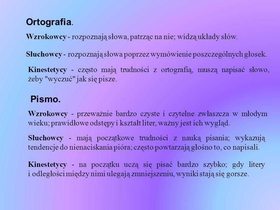 Ortografia.Wzrokowcy - rozpoznają słowa, patrząc na nie; widzą układy słów.