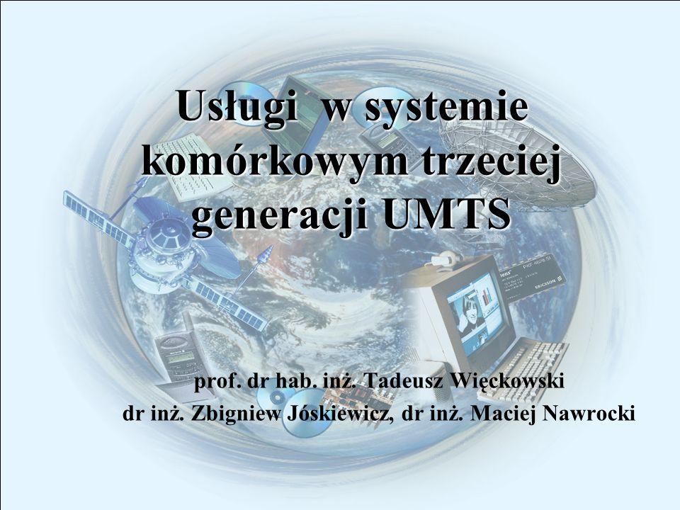 Usługi w systemie trzeciej generacji UMTS 2 Plan prezentacji Założenia do opracowania systemu UMTS oraz środowisko pracy systemu Założenia do opracowania systemu UMTS oraz środowisko pracy systemu Koncepcja realizacji usług w UMTS Koncepcja realizacji usług w UMTS Architektura systemu UMTS Architektura systemu UMTS Idea realizacji usług w systemie UMTS Idea realizacji usług w systemie UMTS Podział usług w systemie UMTS Podział usług w systemie UMTS Wymagania stawiane usługom Wymagania stawiane usługom Klasy QoS usług przenoszenia Klasy QoS usług przenoszenia Łańcuch dostawców usług w systemach 3G Łańcuch dostawców usług w systemach 3G Przykłady usług w UMTS Przykłady usług w UMTS Podsumowanie Podsumowanie