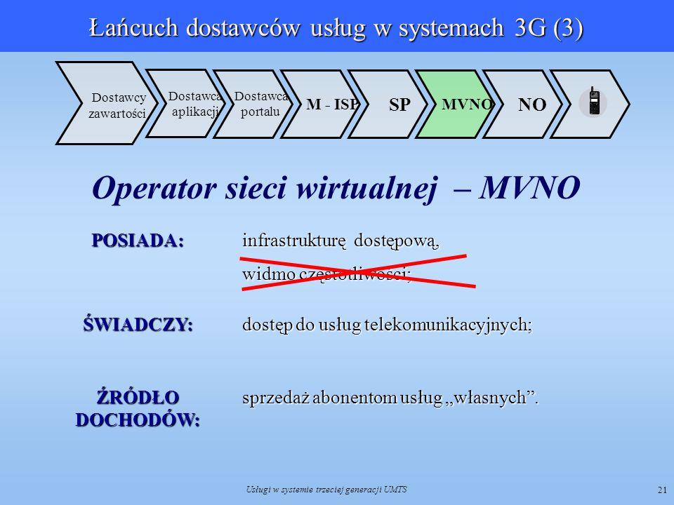 Usługi w systemie trzeciej generacji UMTS 21 Dostawca aplikacji NO MVNO SP M - ISP Dostawca portalu Dostawcy zawartościPOSIADA: infrastrukturę dostępo