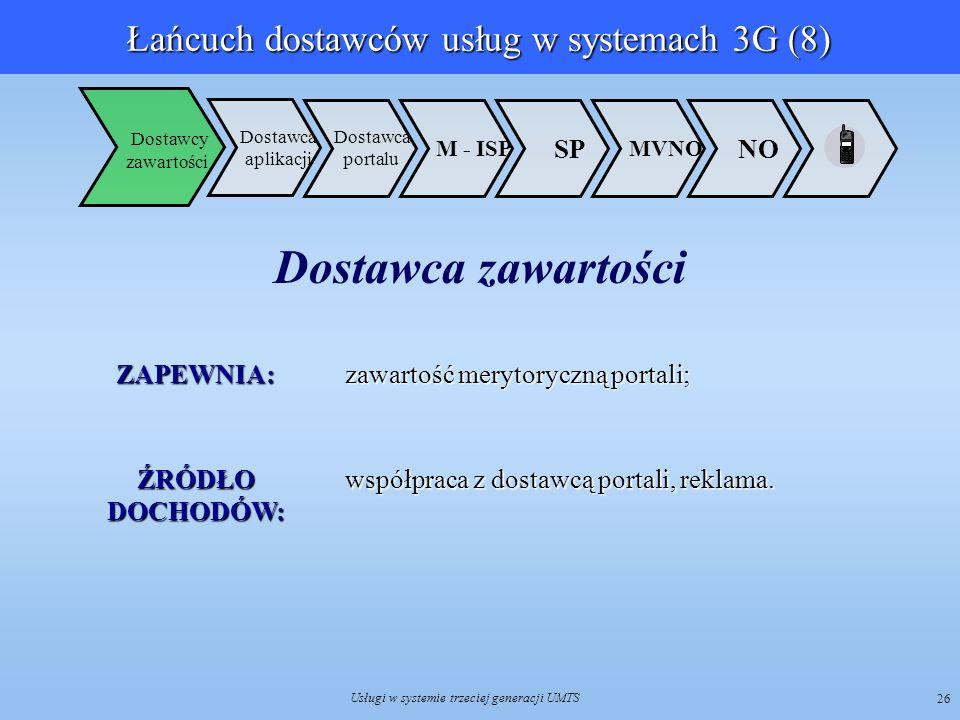 Usługi w systemie trzeciej generacji UMTS 26 Dostawca aplikacji NO MVNO SP M - ISP Dostawca portalu Dostawcy zawartości ZAPEWNIA: zawartość merytorycz