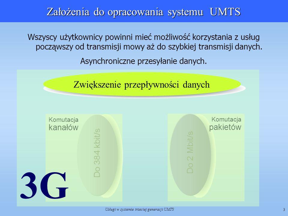 Usługi w systemie trzeciej generacji UMTS 4 Koncepcja realizacji usług w UMTS Sieci 3G (UMTS) umożliwiają połączenie w jedną integralną architekturę sieci, które do tej pory funkcjonowały oddzielnie, w celu świadczenia abonentom różnorodnych usług Sieci 3G (UMTS) umożliwiają połączenie w jedną integralną architekturę sieci, które do tej pory funkcjonowały oddzielnie, w celu świadczenia abonentom różnorodnych usług Usługi świadczone w tradycyjnych sieciach telekomunikacyjnych Usługi świadczone w sieciach 3G Realizacja tego zadania wymaga odpowiedniej architektury systemu zorientowanej na realizację usług o określonych parametrach jakościowych w ramach możliwości technicznych platformy transmisyjnej systemu Realizacja tego zadania wymaga odpowiedniej architektury systemu zorientowanej na realizację usług o określonych parametrach jakościowych w ramach możliwości technicznych platformy transmisyjnej systemu