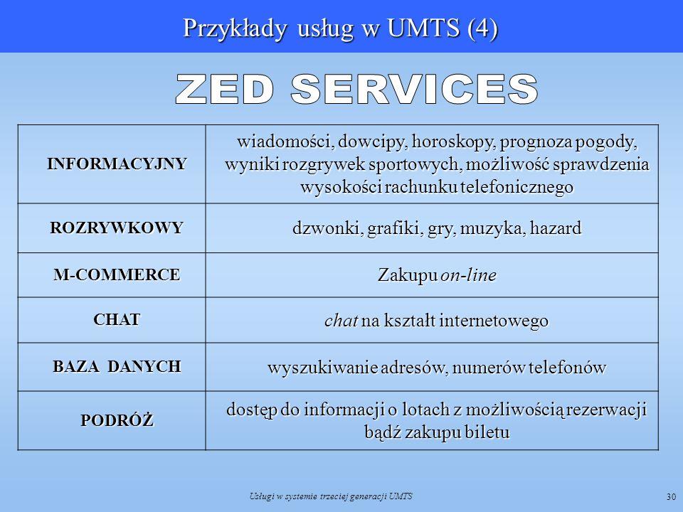 Usługi w systemie trzeciej generacji UMTS 30INFORMACYJNY wiadomości, dowcipy, horoskopy, prognoza pogody, wyniki rozgrywek sportowych, możliwość spraw