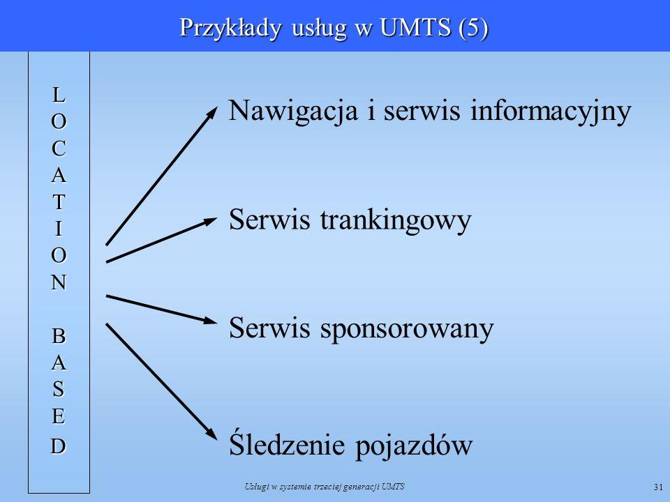 Usługi w systemie trzeciej generacji UMTS 31 LOCATIONBASE D Nawigacja i serwis informacyjny Serwis trankingowy Serwis sponsorowany Śledzenie pojazdów