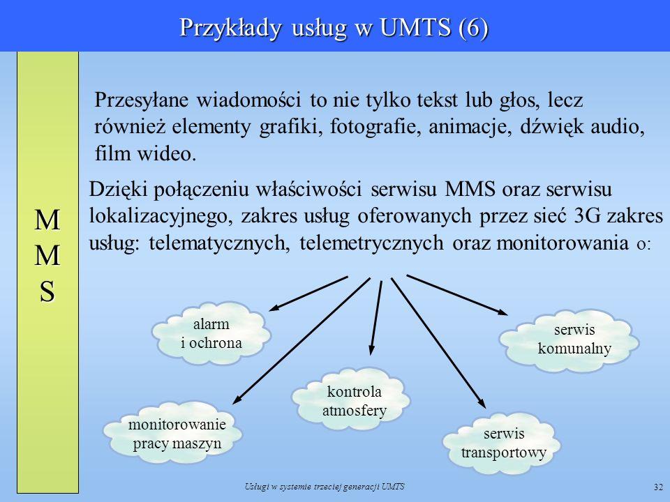 Usługi w systemie trzeciej generacji UMTS 32 Przesyłane wiadomości to nie tylko tekst lub głos, lecz również elementy grafiki, fotografie, animacje, d