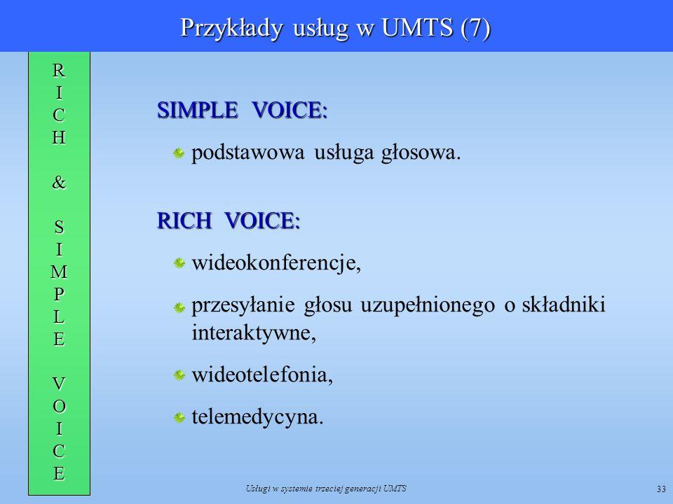 Usługi w systemie trzeciej generacji UMTS 33 RICH&SIMPLEV OICE SIMPLE VOICE: podstawowa usługa głosowa. RICH VOICE: wideokonferencje, przesyłanie głos