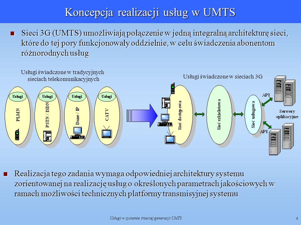 Usługi w systemie trzeciej generacji UMTS 5 Środowisko pracy systemu UMTS Koncepcja obsługi użytkowników w różnych klasach komórek o zróżnicowanych zasięgach: segment naziemny - wnętrza budynków, obszary miejskie, podmiejskie i wiejskie.