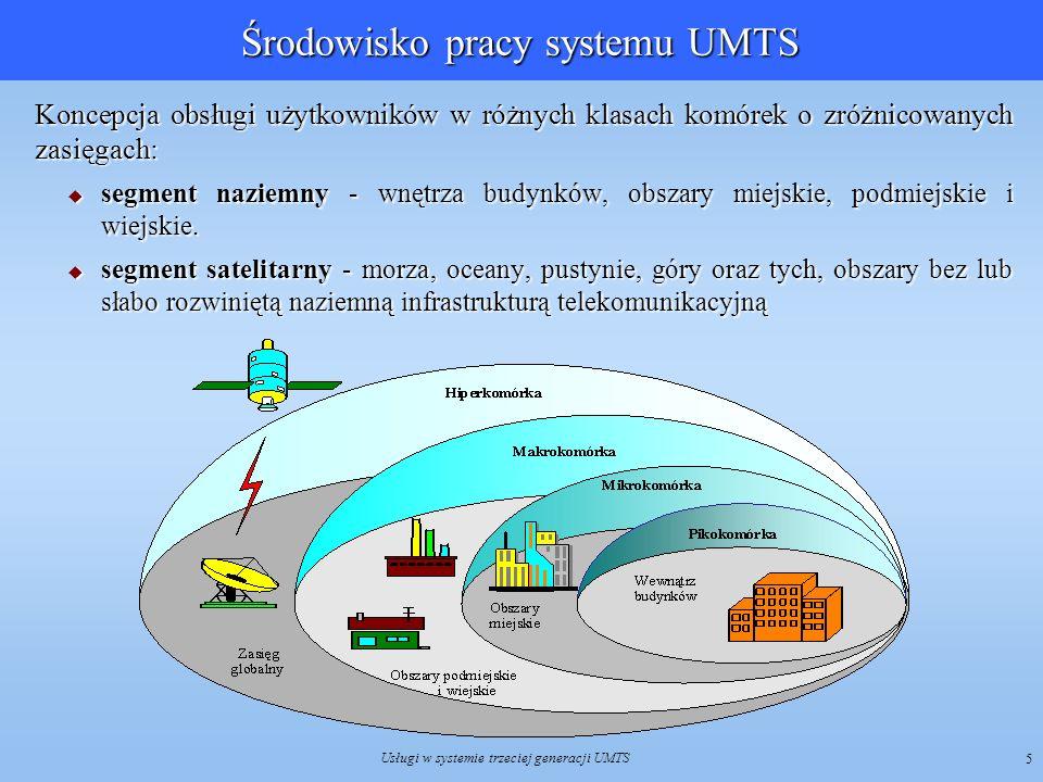Usługi w systemie trzeciej generacji UMTS 5 Środowisko pracy systemu UMTS Koncepcja obsługi użytkowników w różnych klasach komórek o zróżnicowanych za