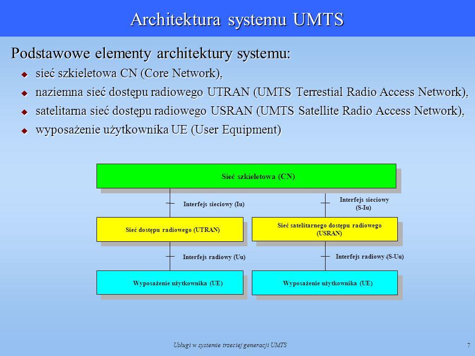Usługi w systemie trzeciej generacji UMTS 8 Interfejs radiowy systemu UMTS Zastosowano technikę szerokopasmowego wielodostępu kodowego z bezpośrednim rozpraszaniem widma WCDMA (Wideband Code Division Multiple Access) oraz dupleksem częstotliwościowym FDD lub dupleksie czasowym TDD Zastosowano technikę szerokopasmowego wielodostępu kodowego z bezpośrednim rozpraszaniem widma WCDMA (Wideband Code Division Multiple Access) oraz dupleksem częstotliwościowym FDD lub dupleksie czasowym TDD UMTS umożliwia adaptację przepływności bitowej w łączu radiowym, poprzez odpowiedni dobór długości kodów rozpraszających i liczby strumieni.