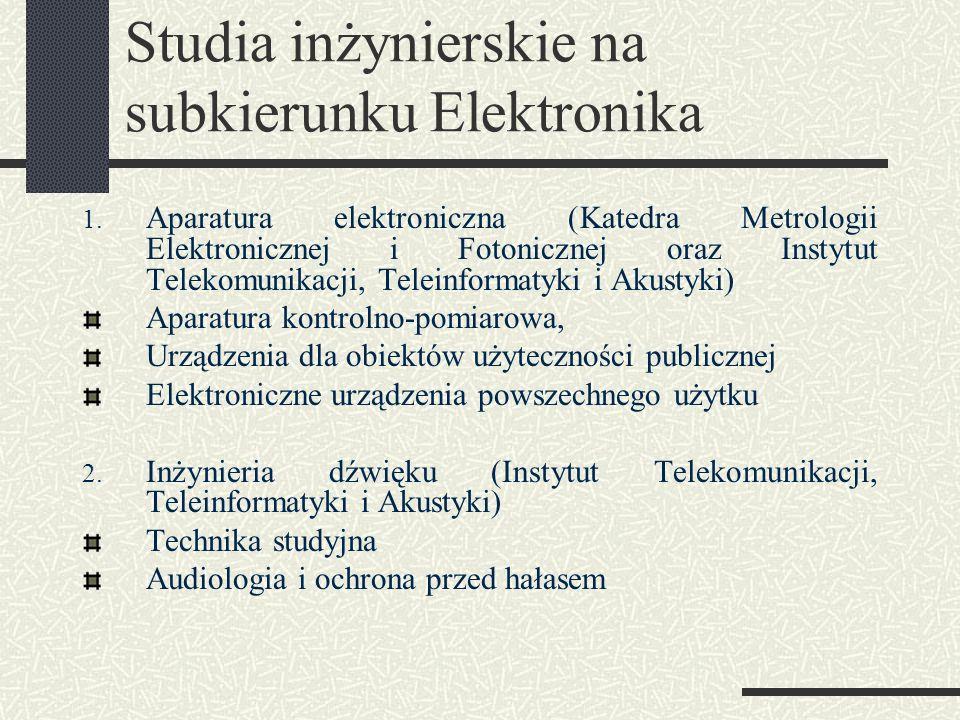 Studia inżynierskie na subkierunku Elektronika 1. Aparatura elektroniczna (Katedra Metrologii Elektronicznej i Fotonicznej oraz Instytut Telekomunikac