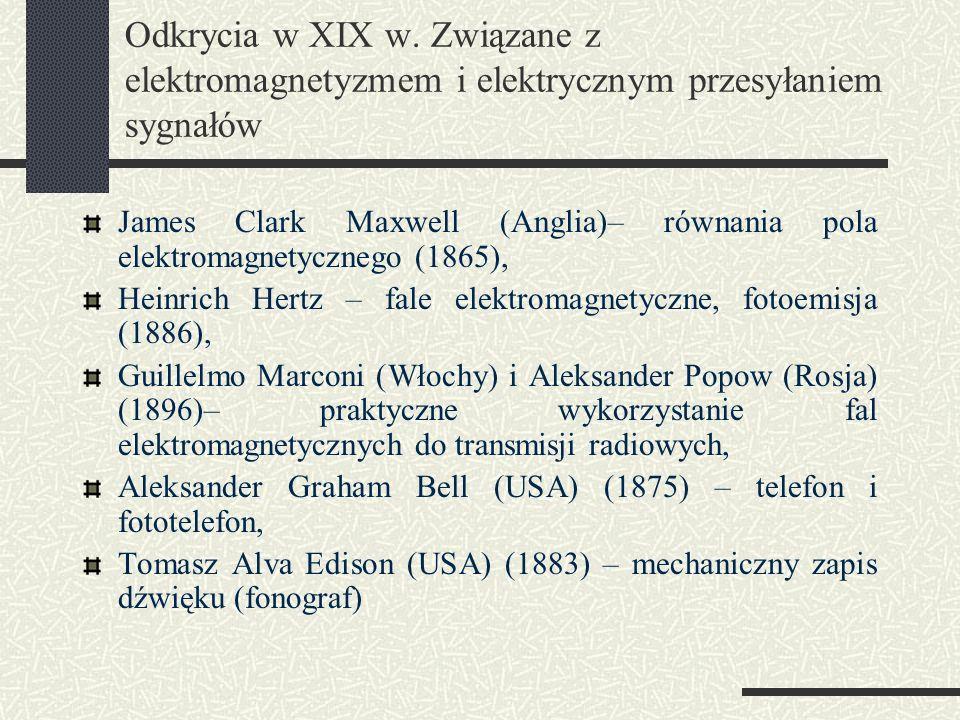 Odkrycia w XIX w. Związane z elektromagnetyzmem i elektrycznym przesyłaniem sygnałów James Clark Maxwell (Anglia)– równania pola elektromagnetycznego