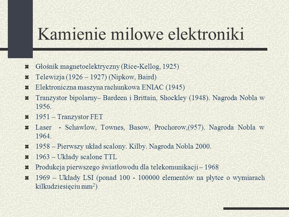 Kamienie milowe elektroniki Głośnik magnetoelektryczny (Rice-Kellog, 1925) Telewizja (1926 – 1927) (Nipkow, Baird) Elektroniczna maszyna rachunkowa EN