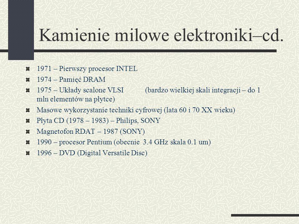 Kamienie milowe elektroniki–cd. 1971 – Pierwszy procesor INTEL 1974 – Pamięć DRAM 1975 – Układy scalone VLSI(bardzo wielkiej skali integracji – do 1 m