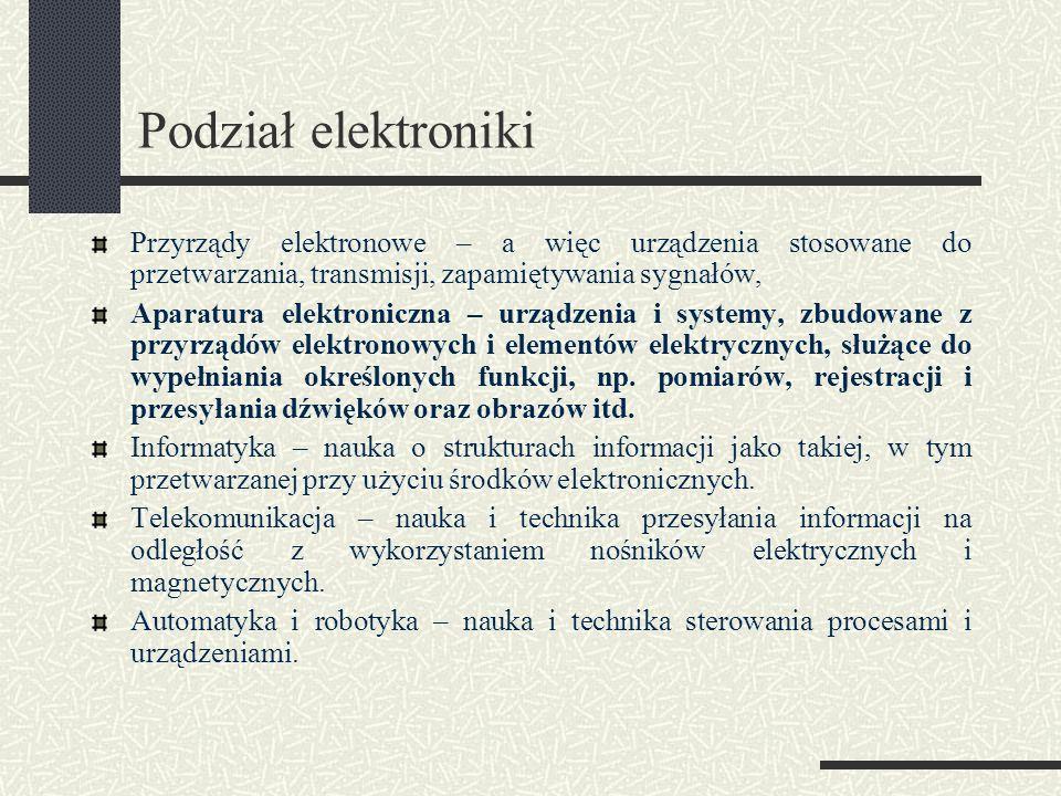 Podział elektroniki Przyrządy elektronowe – a więc urządzenia stosowane do przetwarzania, transmisji, zapamiętywania sygnałów, Aparatura elektroniczna