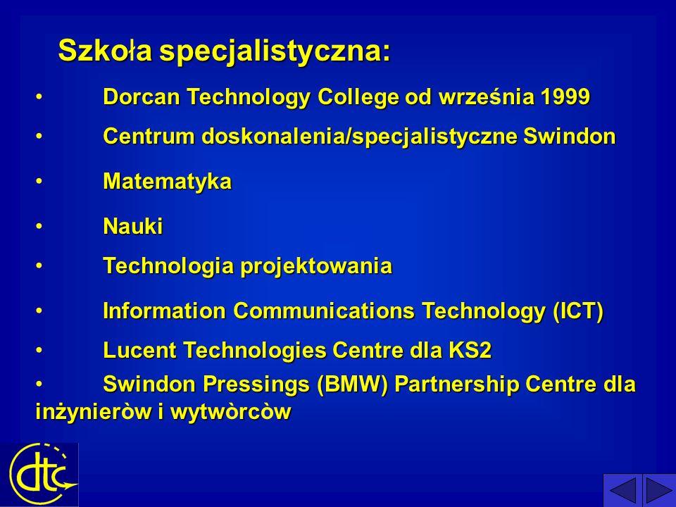 O Dorcan: otwarty w 1970 służy południowo zachodniemu Swindon 1350 studentòw 270 uczniòw na roku średnia wielkość klasy 28 (24 w praktycznych przedmiotach) Szkoła specjalizująca się w technologii