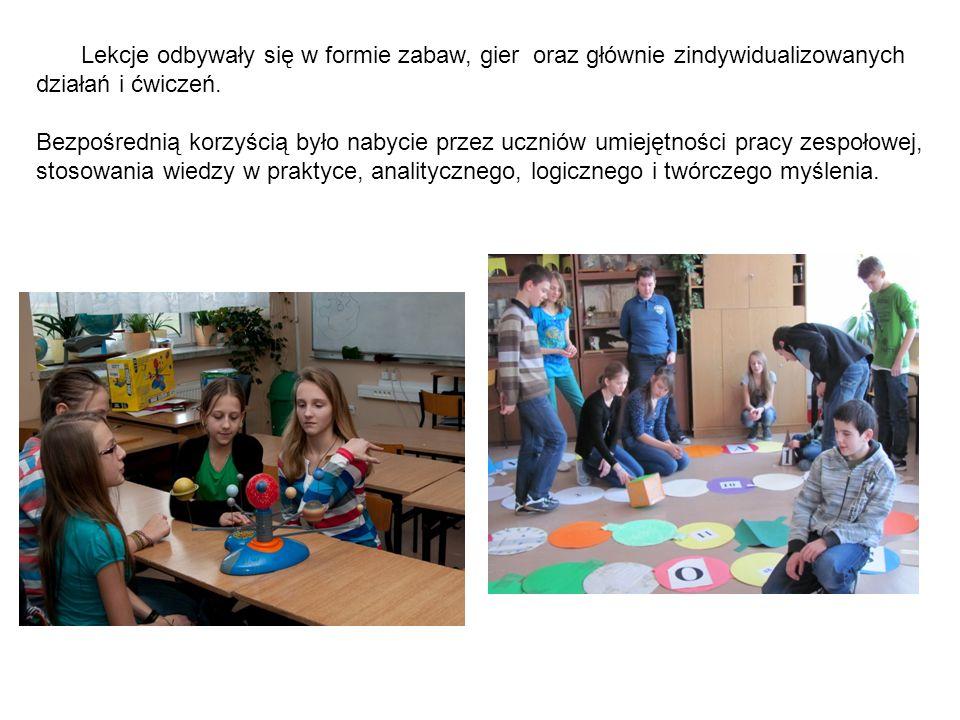 Lekcje odbywały się w formie zabaw, gier oraz głównie zindywidualizowanych działań i ćwiczeń. Bezpośrednią korzyścią było nabycie przez uczniów umieję