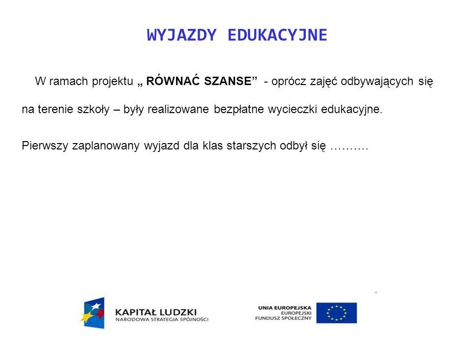 WYJAZDY EDUKACYJNE W ramach projektu RÓWNAĆ SZANSE - oprócz zajęć odbywających się na terenie szkoły – były realizowane bezpłatne wycieczki edukacyjne