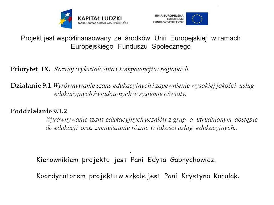 Projekt jest współfinansowany ze środków Unii Europejskiej w ramach Europejskiego Funduszu Społecznego Priorytet IX. Rozwój wykształcenia i kompetencj