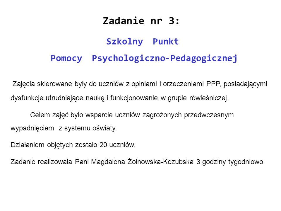 Zadanie nr 3: Szkolny Punkt Pomocy Psychologiczno-Pedagogicznej Zajęcia skierowane były do uczniów z opiniami i orzeczeniami PPP, posiadającymi dysfun