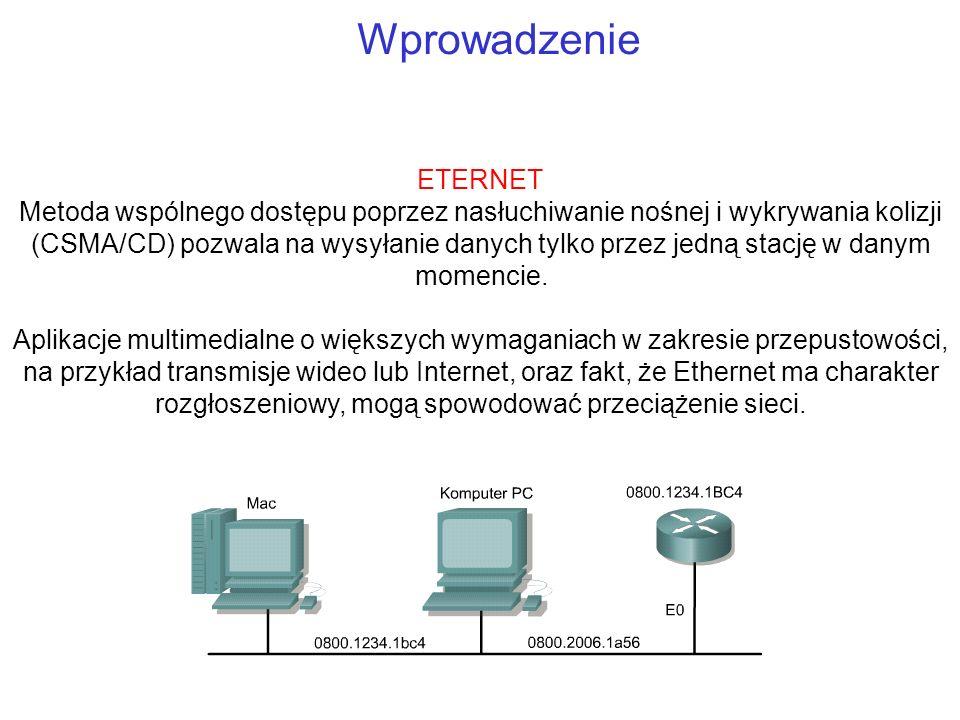 Wprowadzenie ETERNET Metoda wspólnego dostępu poprzez nasłuchiwanie nośnej i wykrywania kolizji (CSMA/CD) pozwala na wysyłanie danych tylko przez jedn