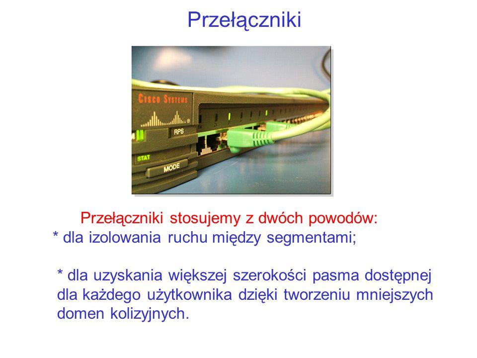 Przełączniki Przełączniki stosujemy z dwóch powodów: * dla izolowania ruchu między segmentami; * dla uzyskania większej szerokości pasma dostępnej dla