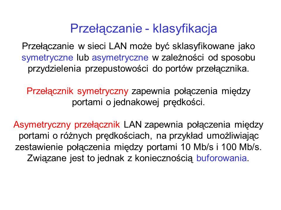 Przełączanie - klasyfikacja Przełączanie w sieci LAN może być sklasyfikowane jako symetryczne lub asymetryczne w zależności od sposobu przydzielenia p