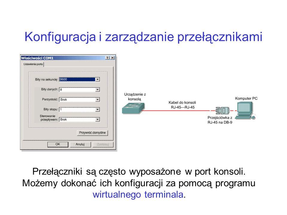 Konfiguracja i zarządzanie przełącznikami Przełączniki są często wyposażone w port konsoli. Możemy dokonać ich konfiguracji za pomocą programu wirtual