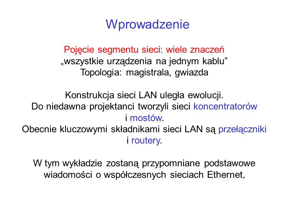 Wprowadzenie Pojęcie segmentu sieci: wiele znaczeń wszystkie urządzenia na jednym kablu Topologia: magistrala, gwiazda Konstrukcja sieci LAN uległa ew