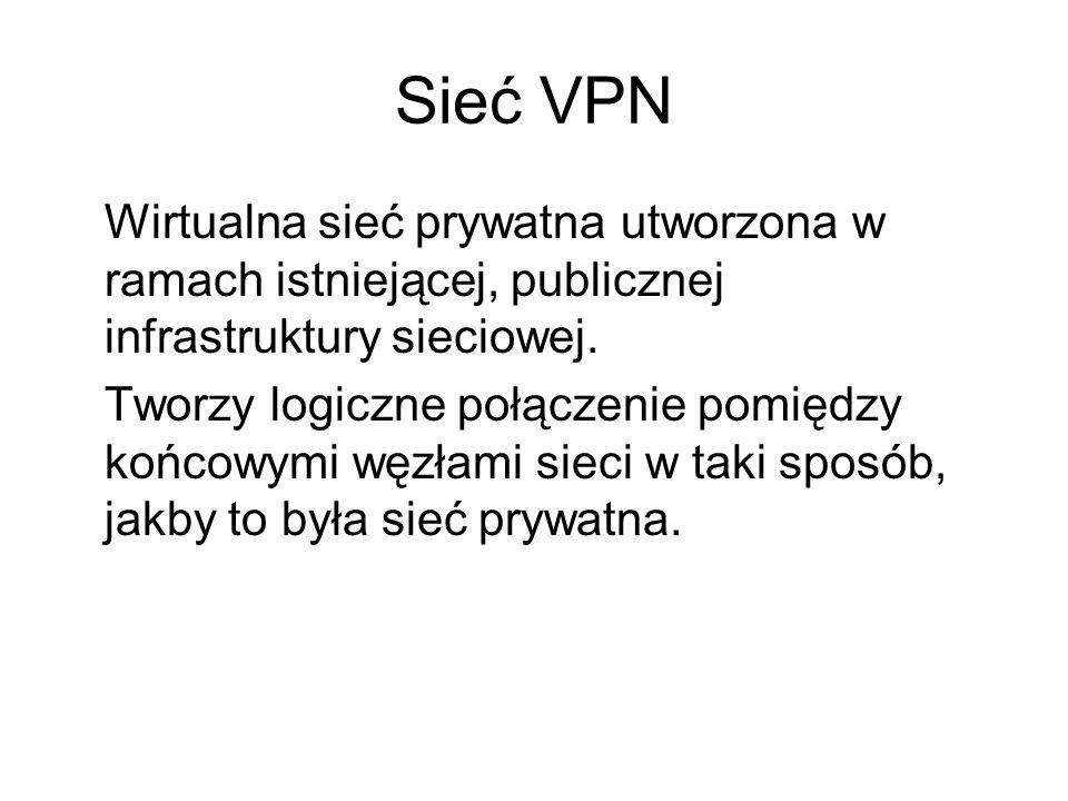 Sieć VPN Wirtualna sieć prywatna utworzona w ramach istniejącej, publicznej infrastruktury sieciowej. Tworzy logiczne połączenie pomiędzy końcowymi wę