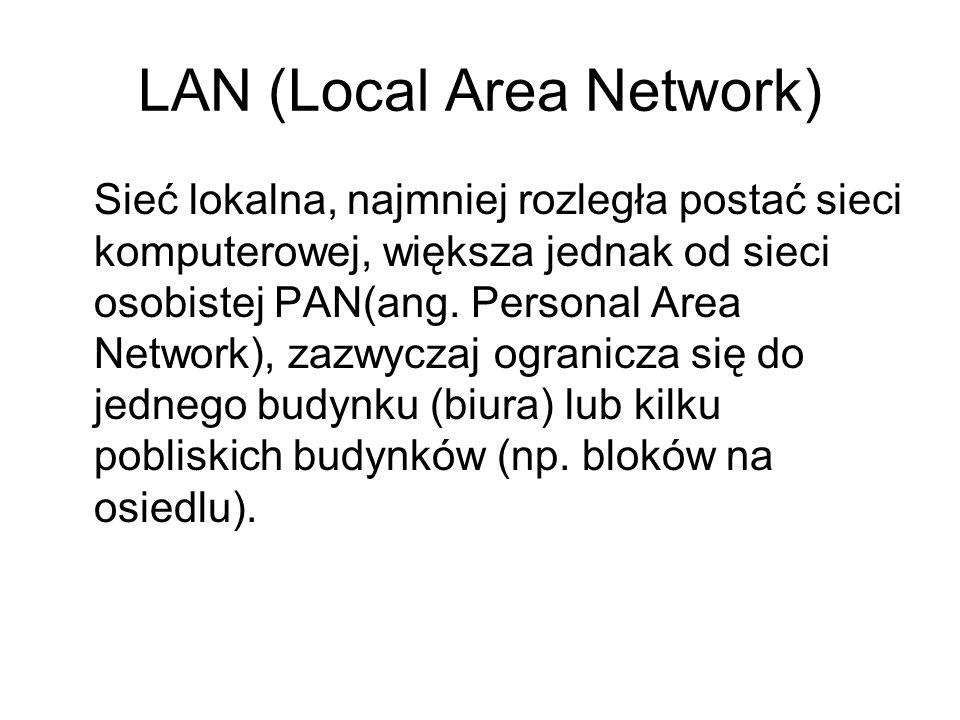 LAN (Local Area Network) Sieć lokalna, najmniej rozległa postać sieci komputerowej, większa jednak od sieci osobistej PAN(ang. Personal Area Network),