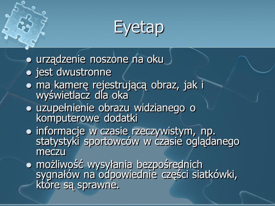 Eyetap urządzenie noszone na oku jest dwustronne ma kamerę rejestrującą obraz, jak i wyświetlacz dla oka uzupełnienie obrazu widzianego o komputerowe