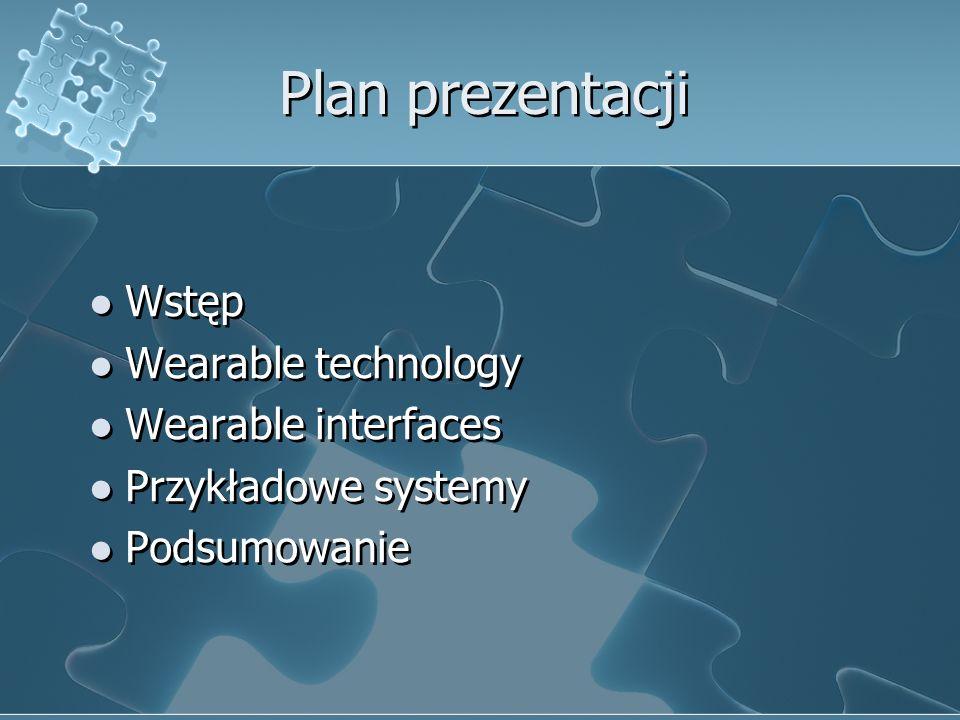Plan prezentacji Wstęp Wearable technology Wearable interfaces Przykładowe systemy Podsumowanie Wstęp Wearable technology Wearable interfaces Przykład