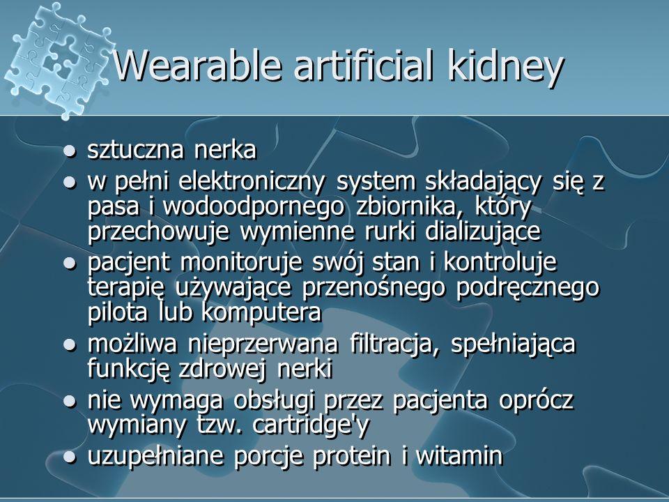 Wearable artificial kidney sztuczna nerka w pełni elektroniczny system składający się z pasa i wodoodpornego zbiornika, który przechowuje wymienne rur