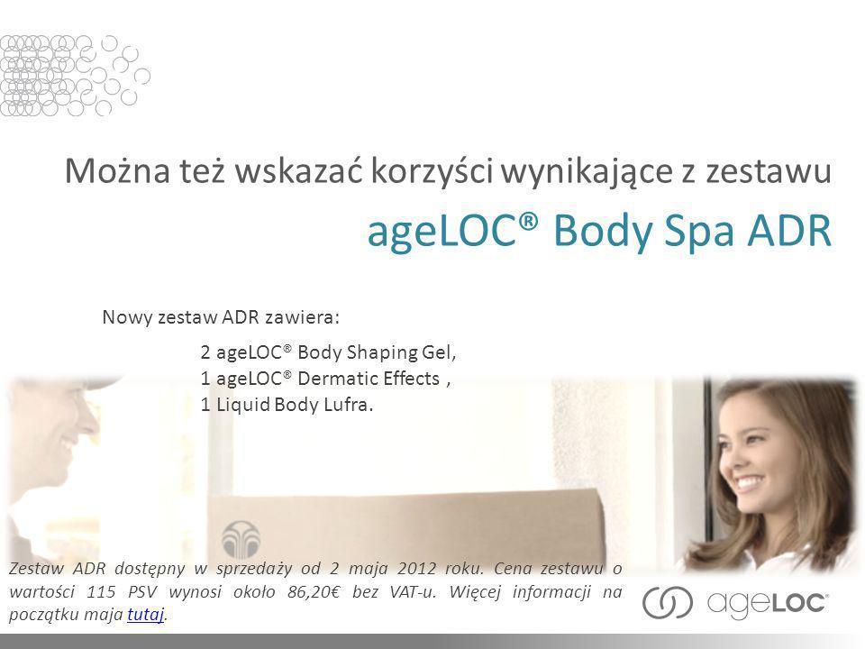 Można też wskazać korzyści wynikające z zestawu ageLOC® Body Spa ADR Zestaw ADR dostępny w sprzedaży od 2 maja 2012 roku. Cena zestawu o wartości 115