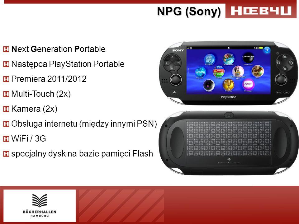 NPG (Sony) Next Generation Portable Następca PlayStation Portable Premiera 2011/2012 Multi-Touch (2x) Kamera (2x) Obsługa internetu (między innymi PSN) WiFi / 3G specjalny dysk na bazie pamięci Flash
