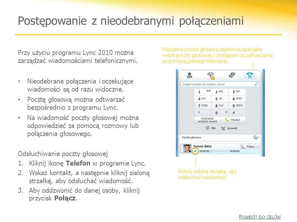 Przy użyciu programu Lync 2010 można zarządzać wiadomościami telefonicznymi. Nieodebrane połączenia i oczekujące wiadomości są od razu widoczne. Poczt