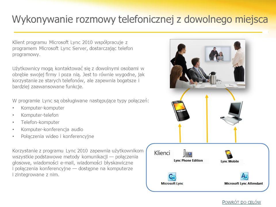 Wykonywanie rozmowy telefonicznej z dowolnego miejsca Klient programu Microsoft Lync 2010 współpracuje z programem Microsoft Lync Server, dostarczając